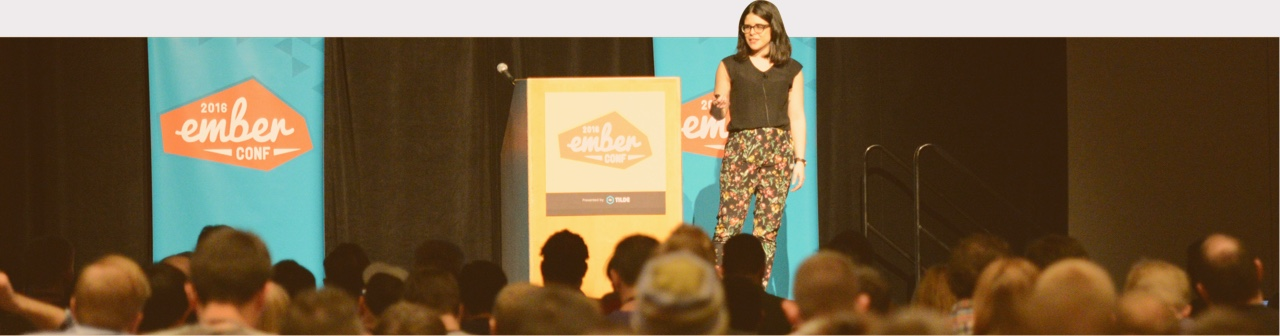 Brenna O'Brien on stage at EmberConf 2016